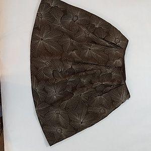 Talbots 100% Silk Skirt Size 14 Brown & Silver